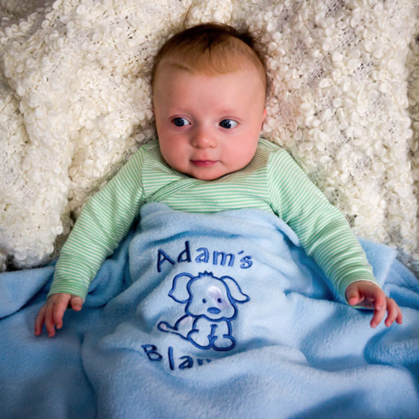 Personalised Baby Boy Blanket Arty Apple
