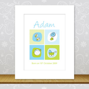 Baby Boy Personalised Wall Art - Adam