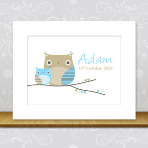Boys Nursery Owl Print - Adam