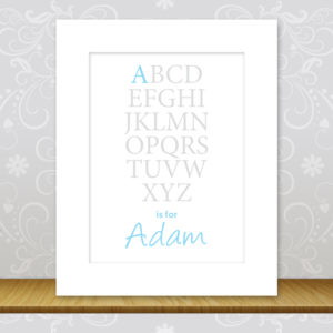 Boys Personalised Alphabet Print - Adam