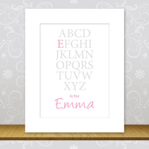 Girls Personalised Alphabet Print - Emma