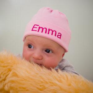 Girls Personalised Newborn Baby Hat